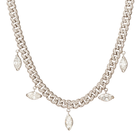 Alternating Pave Link Marquise Drop Necklace - Shay - Necklaces | Broken English Jewelry