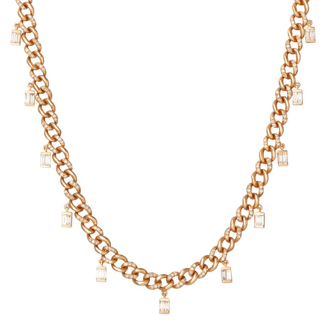 Alternating Pave Baguette Drop Link Choker - Shay - Necklaces | Broken English Jewelry