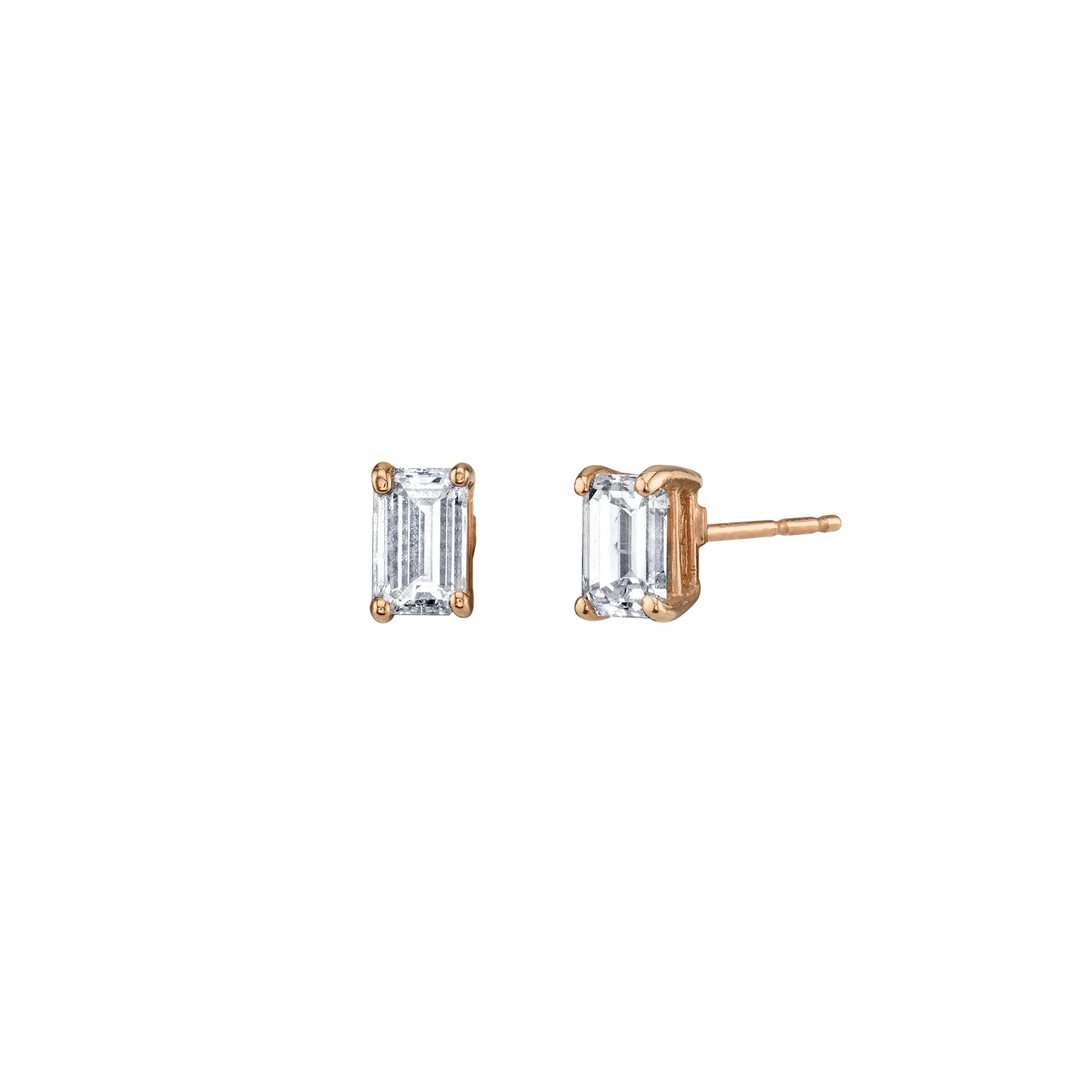 Gold White Diamond Emerald Cut Studs by Shay for Broken English Jewlery
