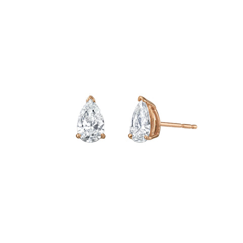 Gold White Diamond Pear Cut Studs by Shay for Broken English Jewlery