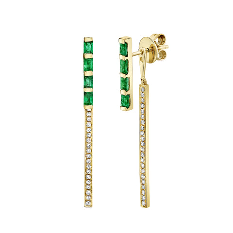 Emerald Studs with Stick Jackets - Shay - Earrings | Broken English Jewelry