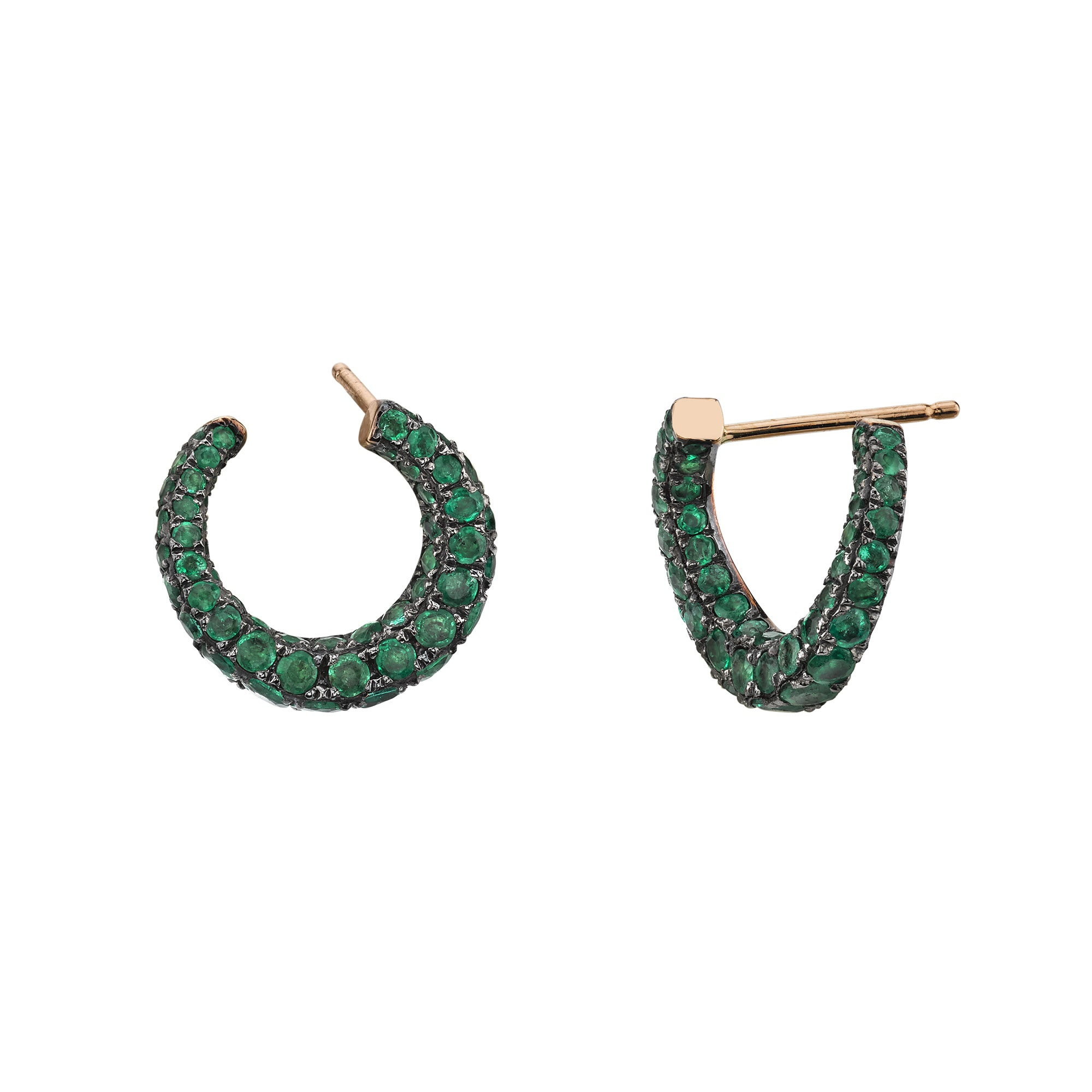 Emerald Curl Huggies by Shay for Broken English Jewelry
