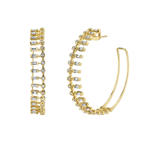 Large Dot Dash Diamond Hoops by Shay for Broken English Jewelry