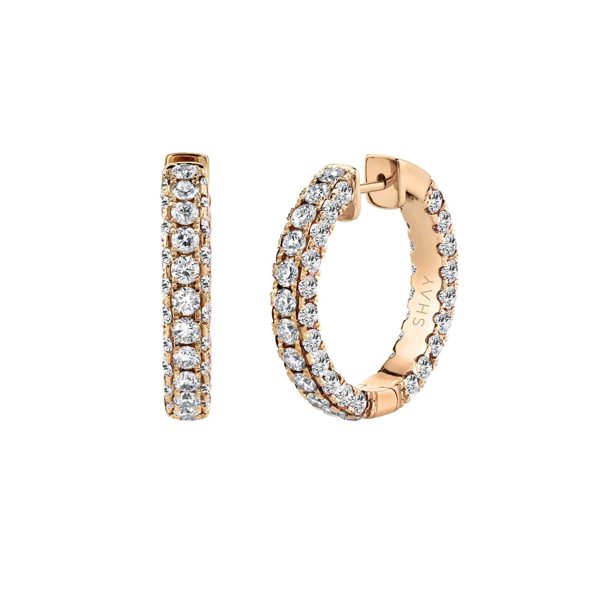 Shay 3 Sided Diamond Hoops - Rose Gold - Earrings - Broken English Jewelry