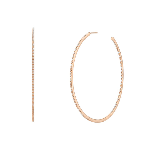 XL Pave Single Row Hoops - Shay - Earrings | Broken English Jewelry