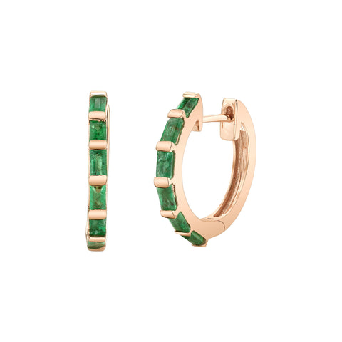 Emerald Baguette Huggies - Shay - Earrings | Broken English Jewelry