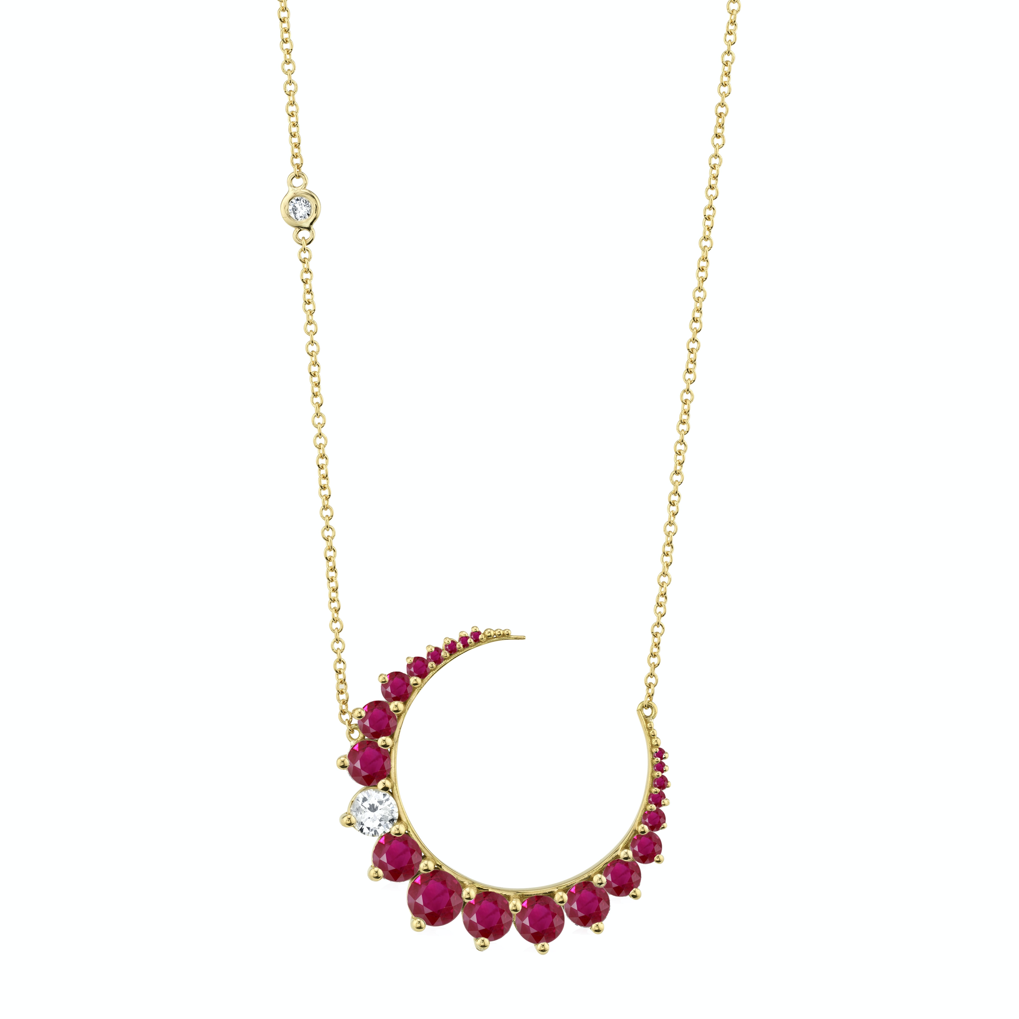 Shay Crescent Moon Necklace - Diamond & Ruby - Necklaces - Broken English Jewelry