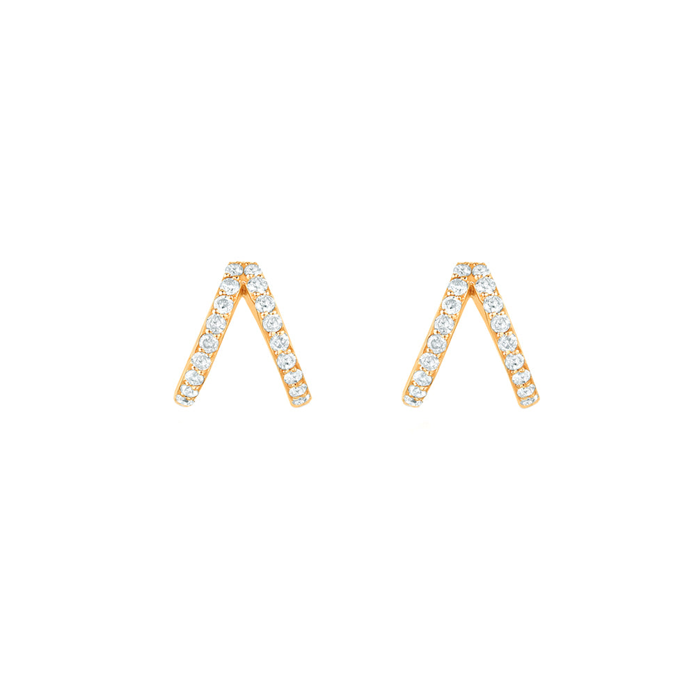 Gold & White Diamond Split Huggies by Carbon & Hyde for Broken English Jewelry