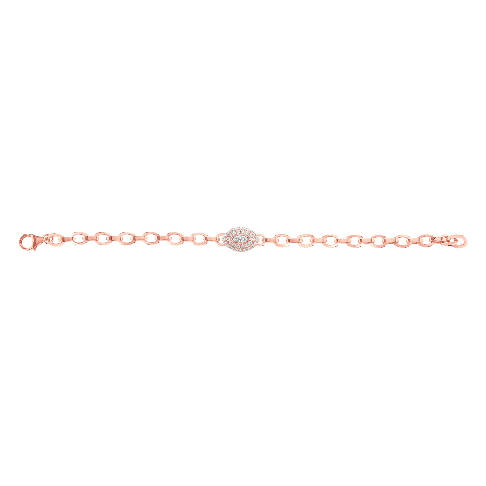 Carbon & Hyde Marquise Link Bracelet - Rose Gold - Bracelets - Broken English Jewelry