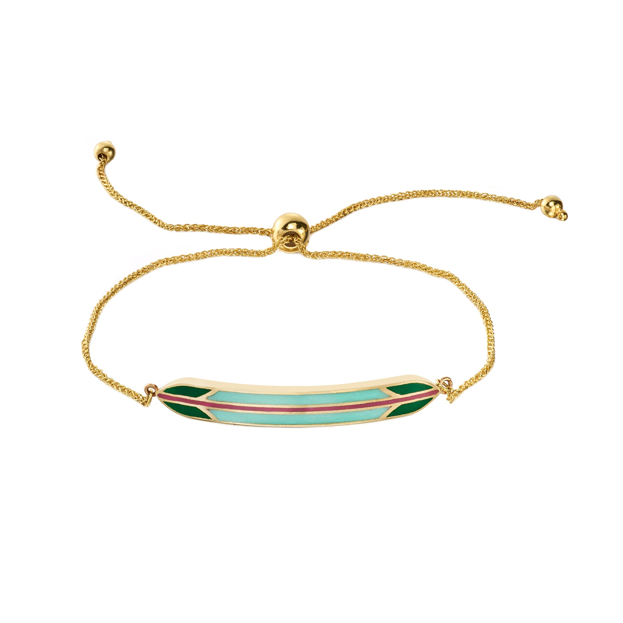Green Surf Leash Bracelet by Tara Hirshberg for Broken English Jewelry