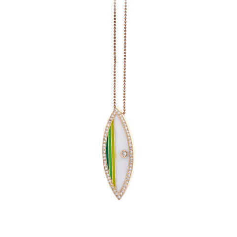 White & Green Surf Board Pendant - Tara Hirshberg - Charms & Pendants | Broken English Jewelry
