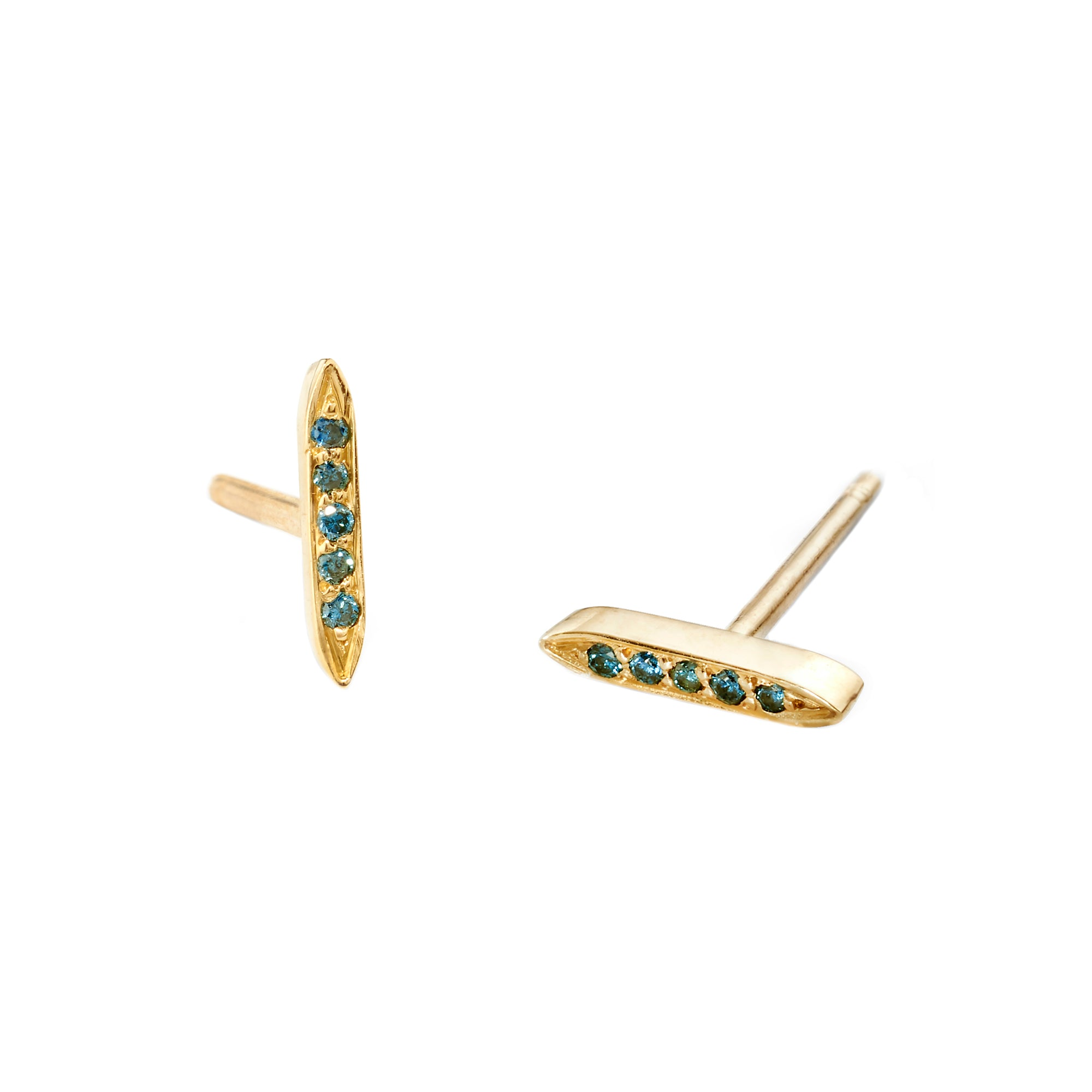 Blue Diamond Mini Goddess Studs by Tara Hirshberg for Broken English Jewelry