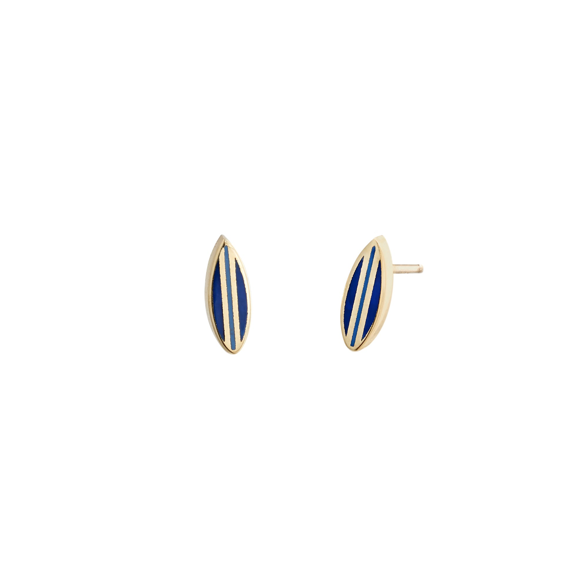 Small Dark Blue Surf Studs - Tara Hirshberg - Earrings | Broken English Jewelry