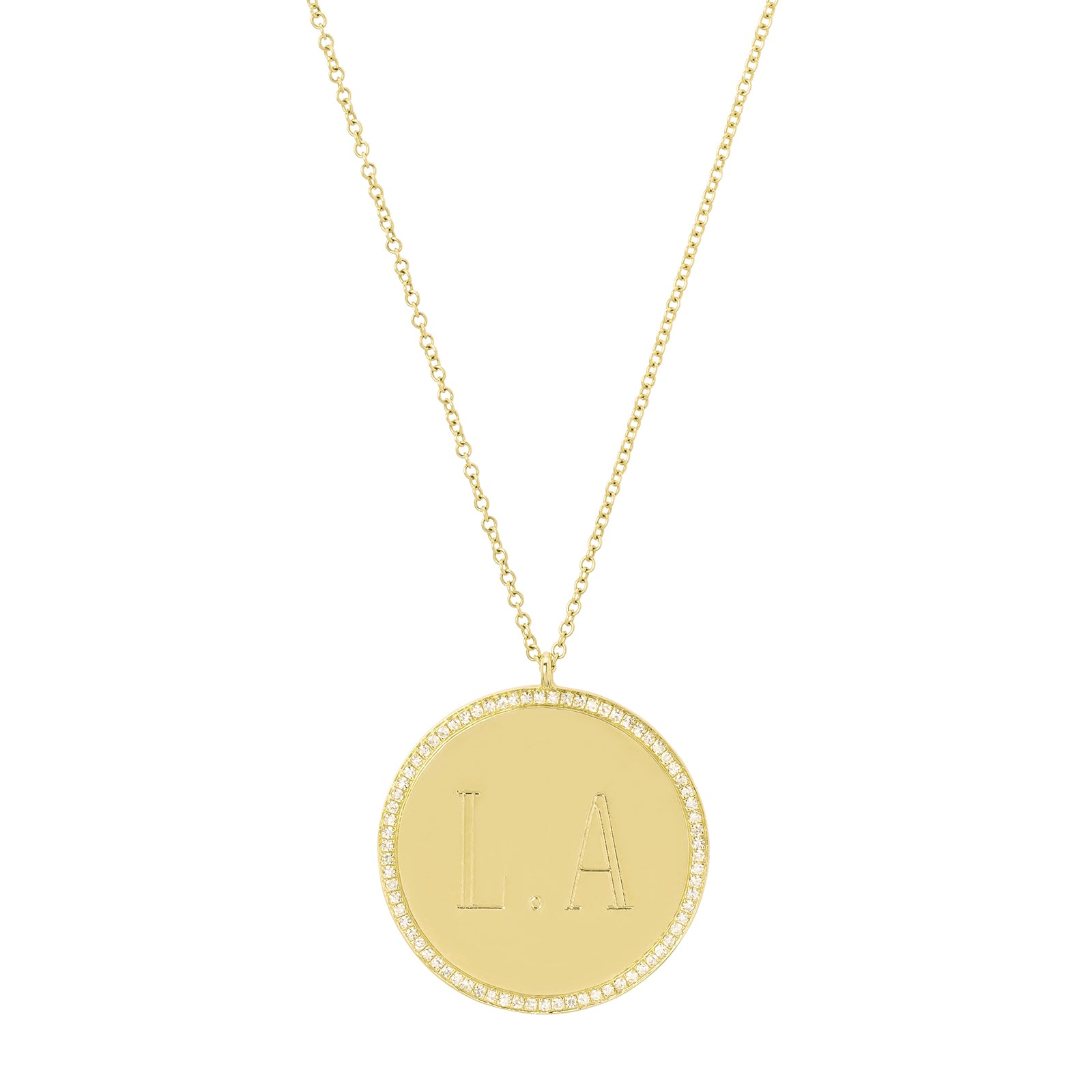 Gabriela Artigas & Company Small Disc L.A. Engraved Necklace - Yellow Gold - Necklaces - Broken English Jewelry