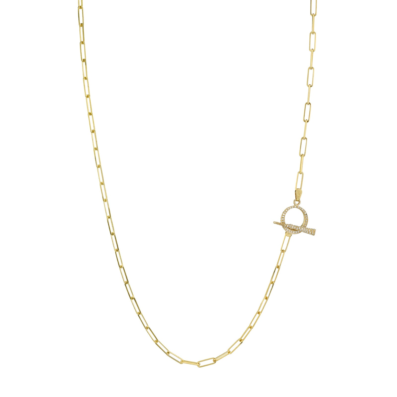 Gabriela Artigas & Company Thin Rectangular Link Lariat - Yellow Gold - Necklaces - Broken English Jewelry
