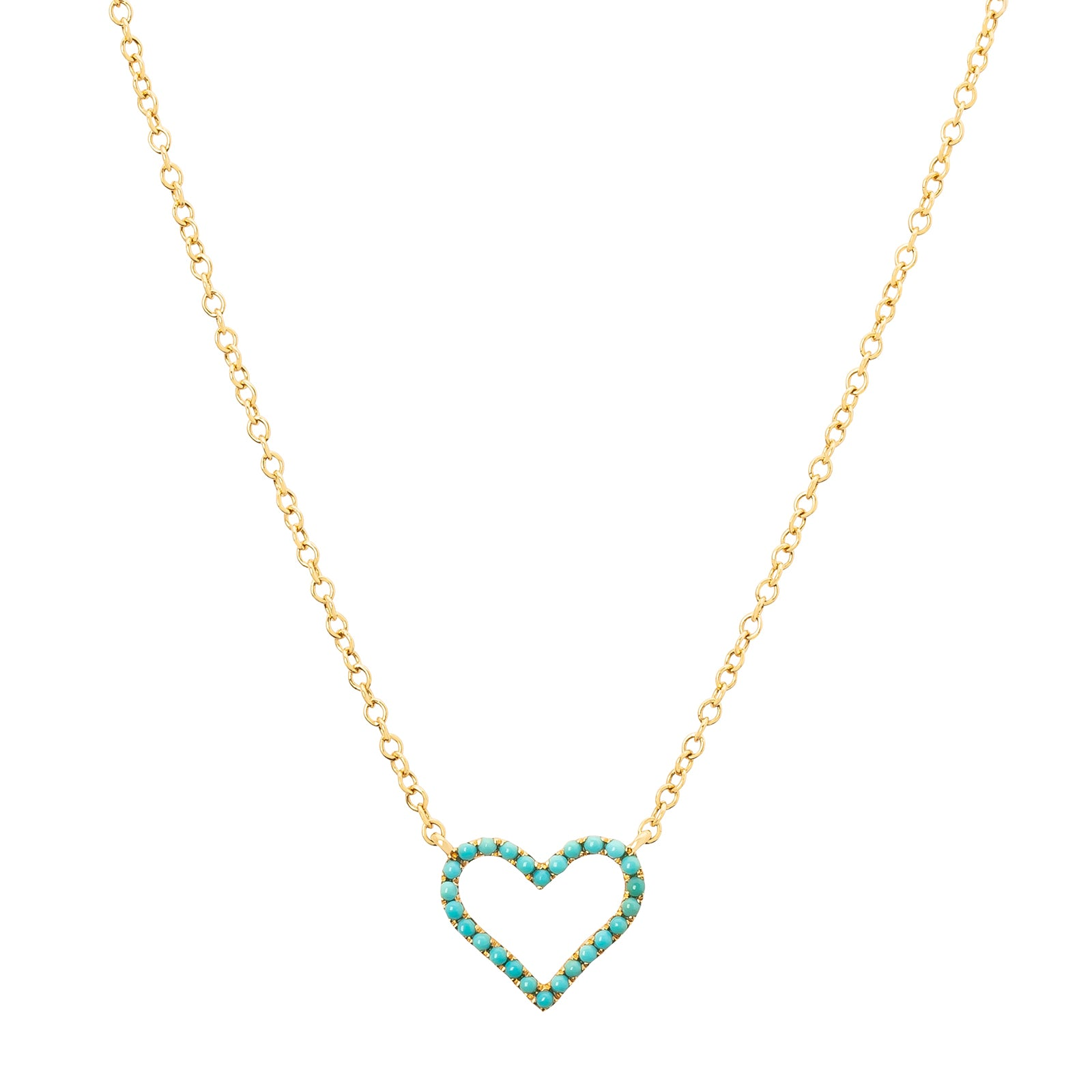 Rosa de la Cruz Heart Charm Necklace - Turquoise - Necklaces - Broken English Jewelry