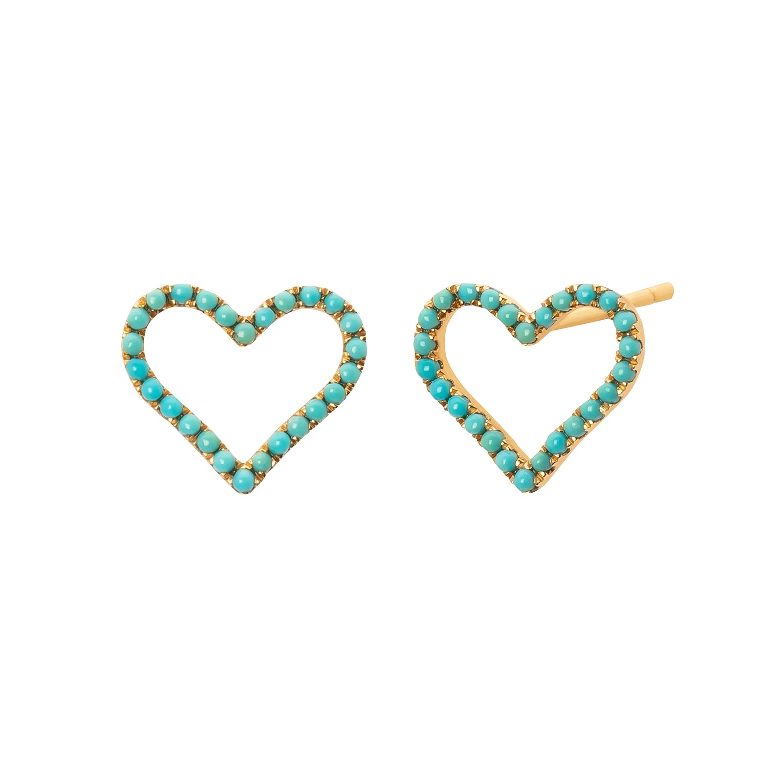 Rosa de la Cruz Heart Studs - Turquoise - Earrings - Broken English Jewelry