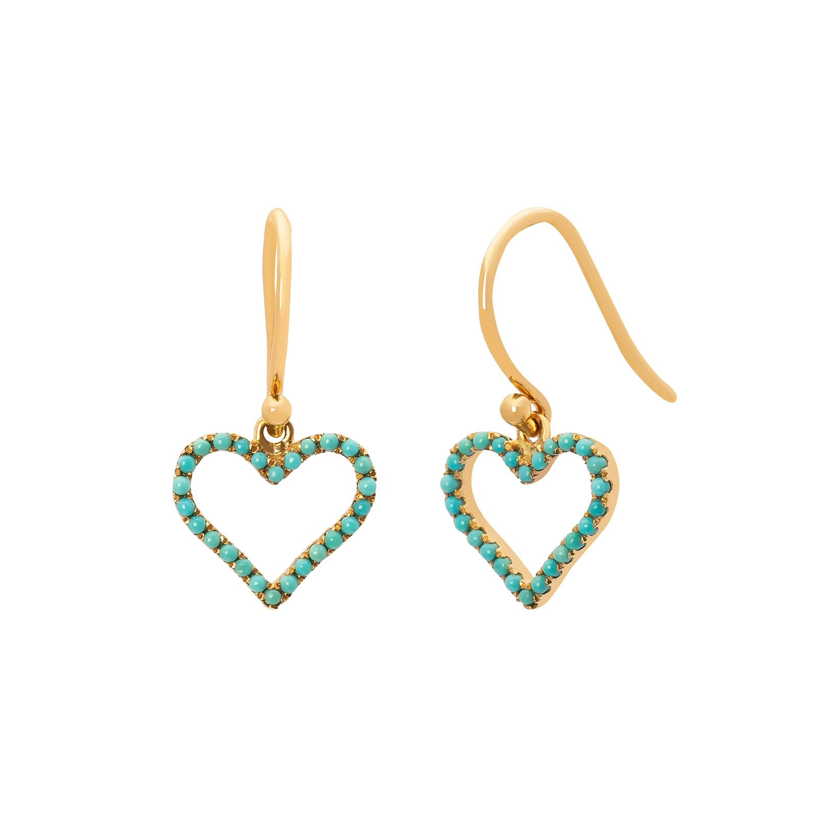 Rosa de la Cruz Heart Hanging Earrings - Turquoise - Earrings - Broken English Jewelry