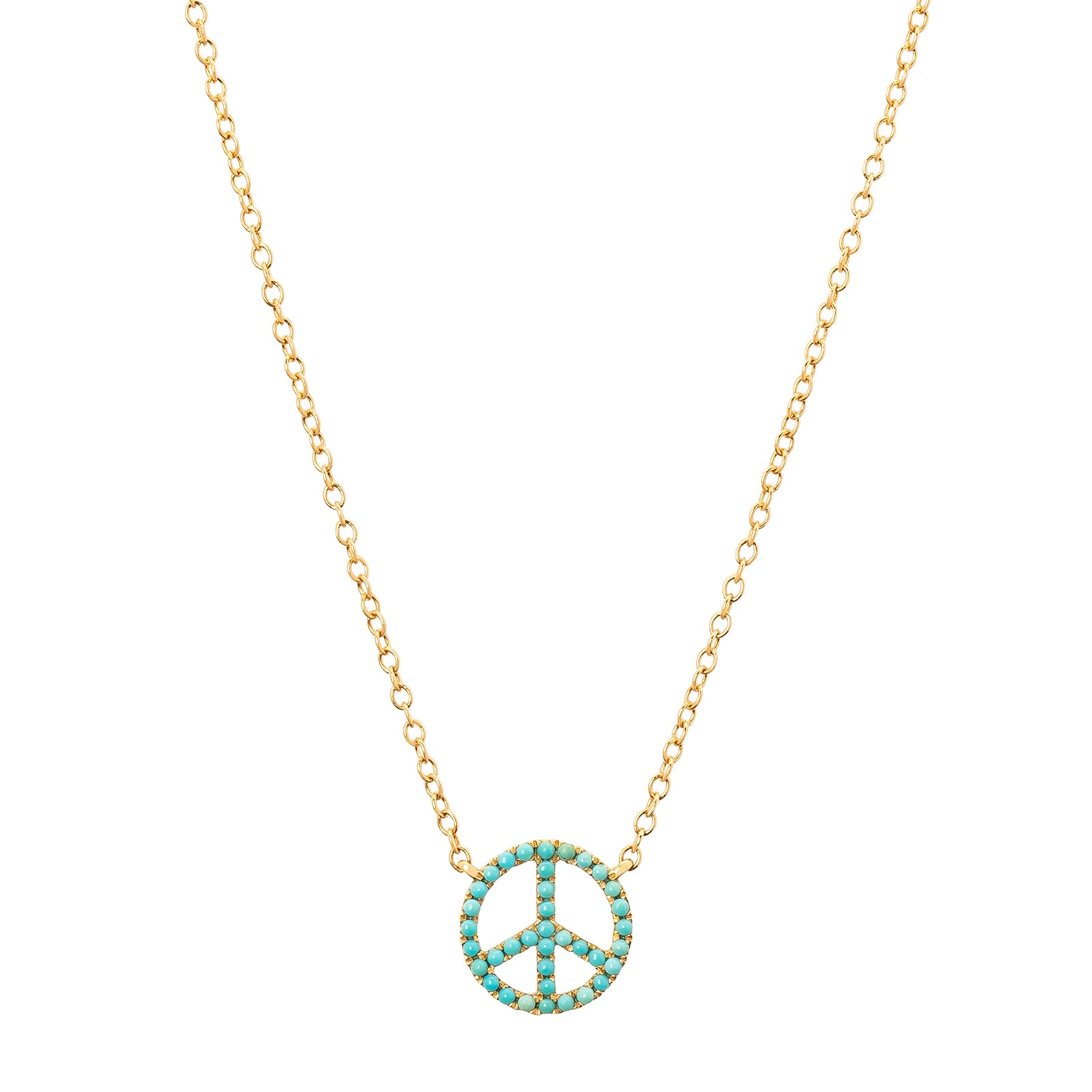 Rosa de la Cruz Peace Charm Necklace - Turquoise - Necklaces - Broken English Jewelry