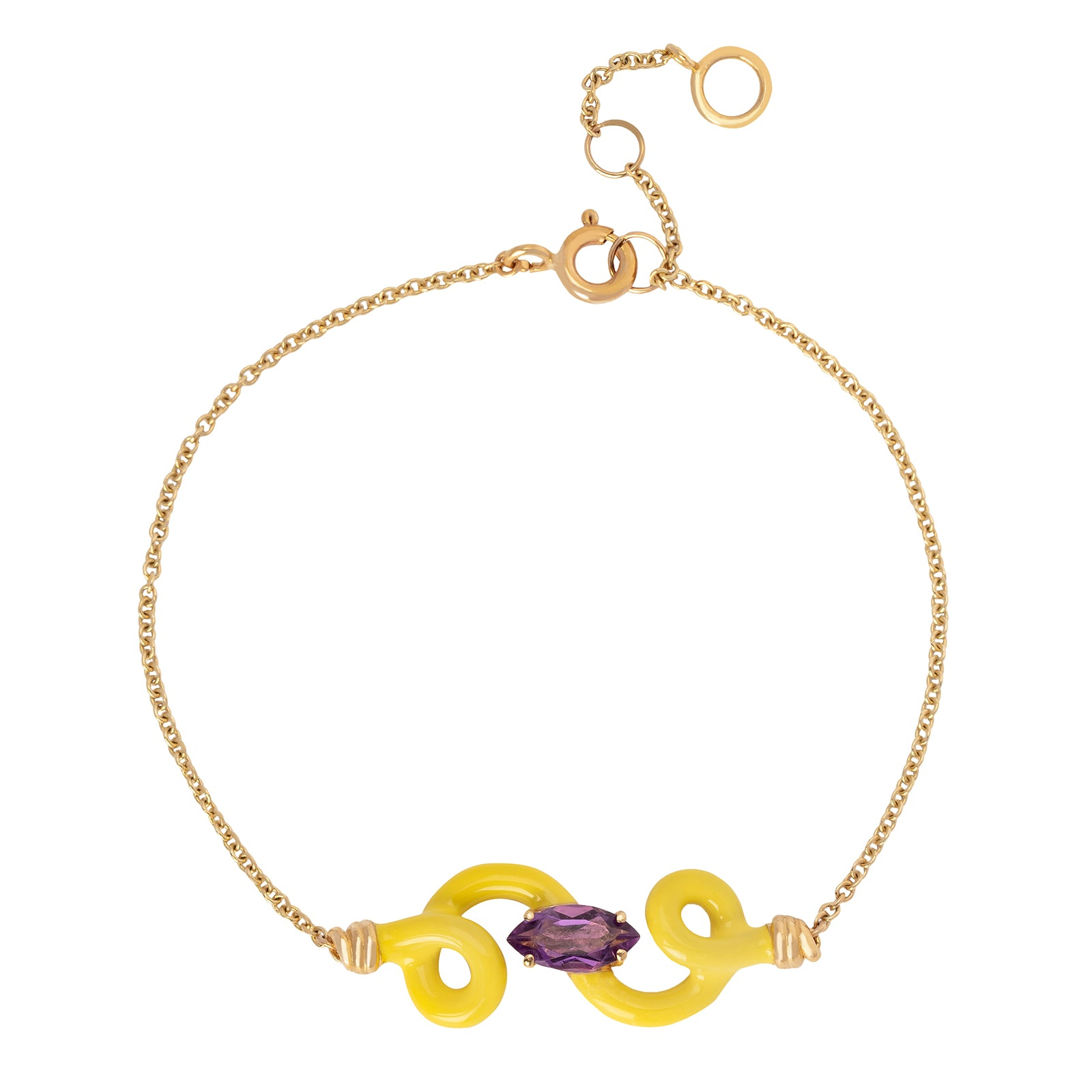 Bea Bongiasca Baby Vine Chain Bracelet - Yellow Enamel - Bracelets - Broken English Jewelry