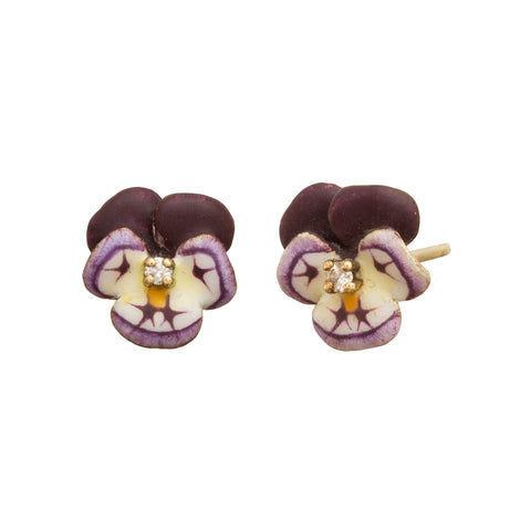 Petite Pansy Earrings by Vintage Jewelry for Broken English Jewelry