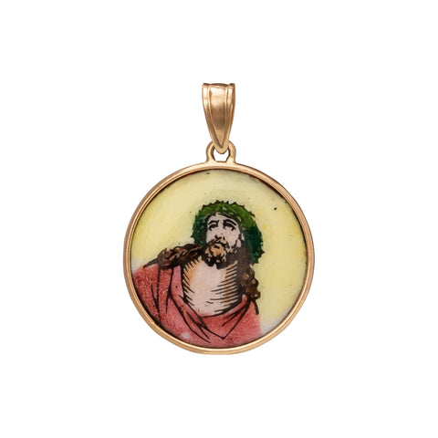 Christ Great Power Polychrome Enamel Medallion - Antique & Vintage - Charms & Pendants | Broken English Jewelry