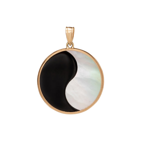 Mother of Pearl & Onyx Yin Yang Disk Pendant - Antique & Vintage - Charms & Pendants | Broken English Jewelry