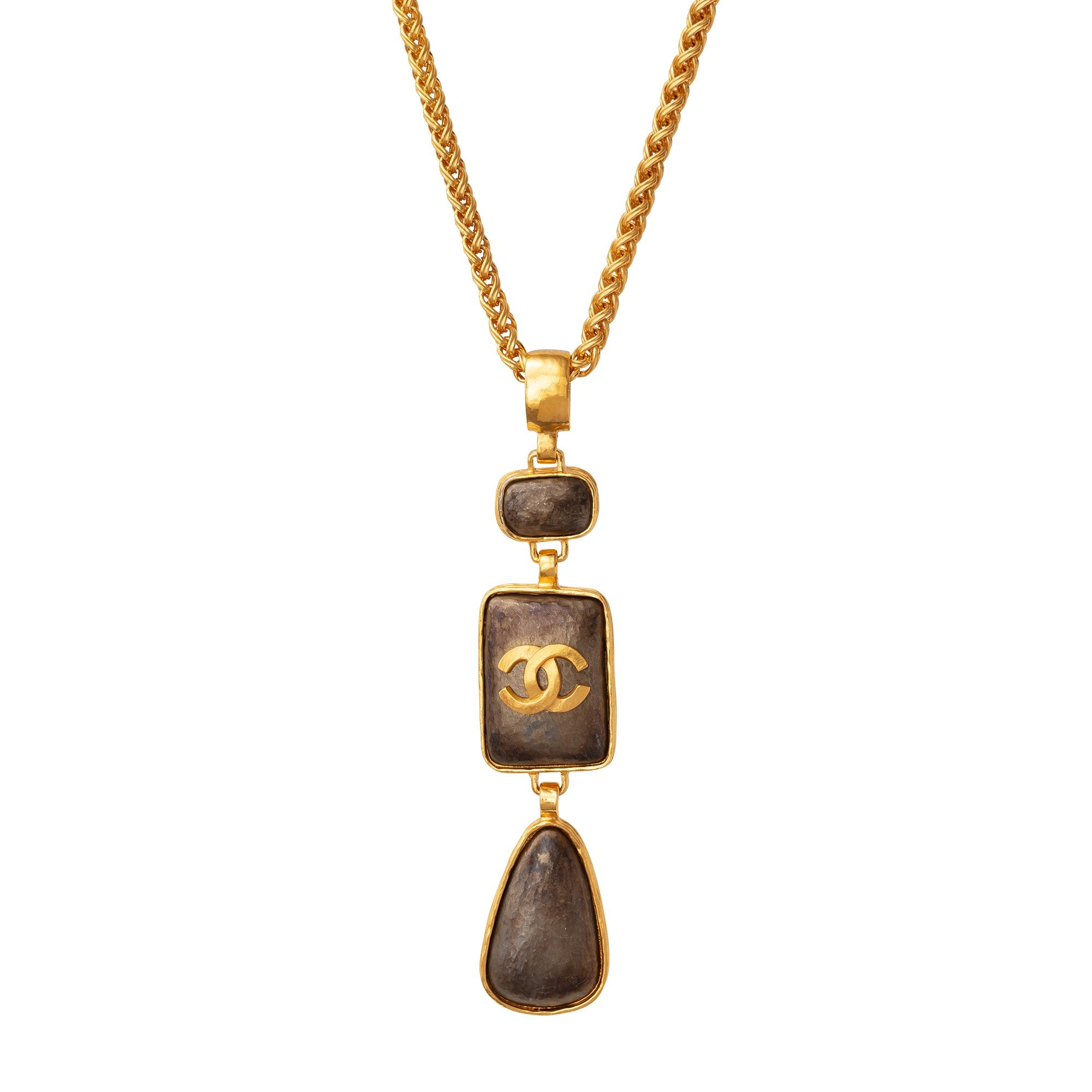 Chanel Gilt Wheat Chain and Brown Stones Pendant Necklace - Antique & Vintage - Necklaces | Broken English Jewelry