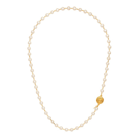 Chanel Pearl Strand with Double Sided Logo Pendant Necklace - Antique & Vintage - Necklaces | Broken English Jewelry