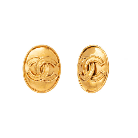 Chanel Oval Disk Logo Earrings - Antique & Vintage - Earrings | Broken English Jewelry
