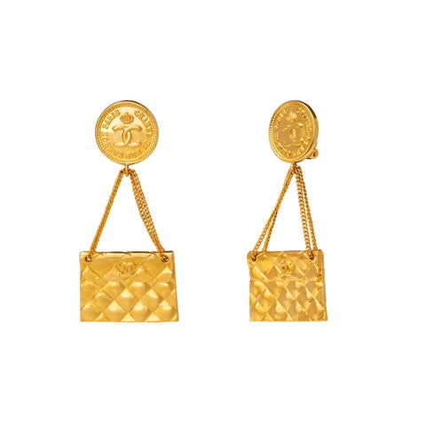 Chanel Quilted Handbag Logo Earrings - Antique & Vintage - Earrings | Broken English Jewelry