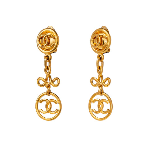 Chanel Loopy Drop Logo Earrings - Antique & Vintage - Earrings | Broken English Jewelry