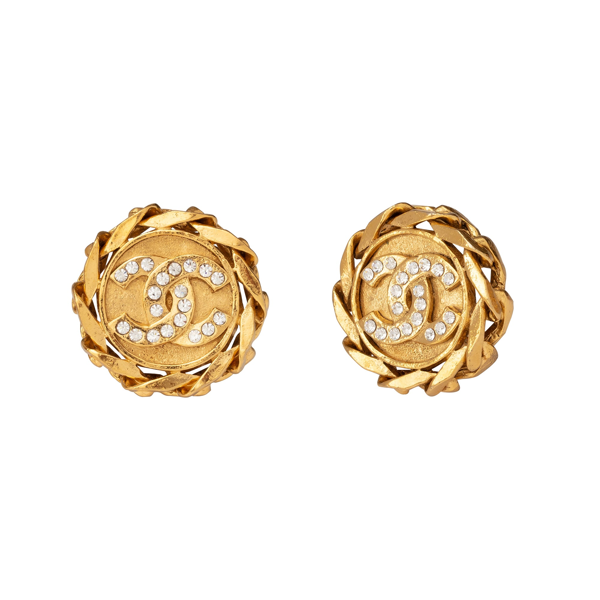 Chanel Chain Border Logo Earrings - Antique & Vintage - Earrings | Broken English Jewelry