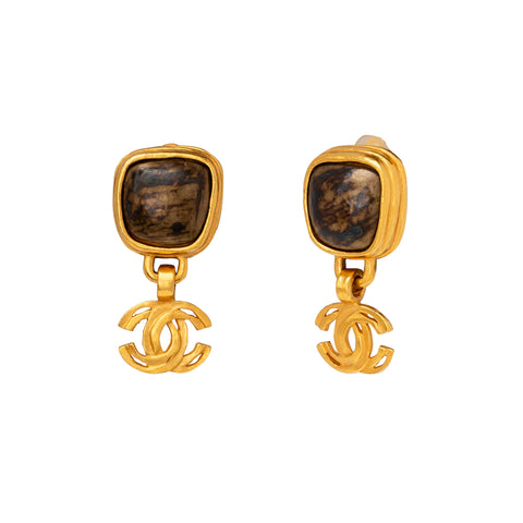 Chanel Brown Square Stone Logo Drop Earrings  - Antique & Vintage - Earrings | Broken English Jewelry