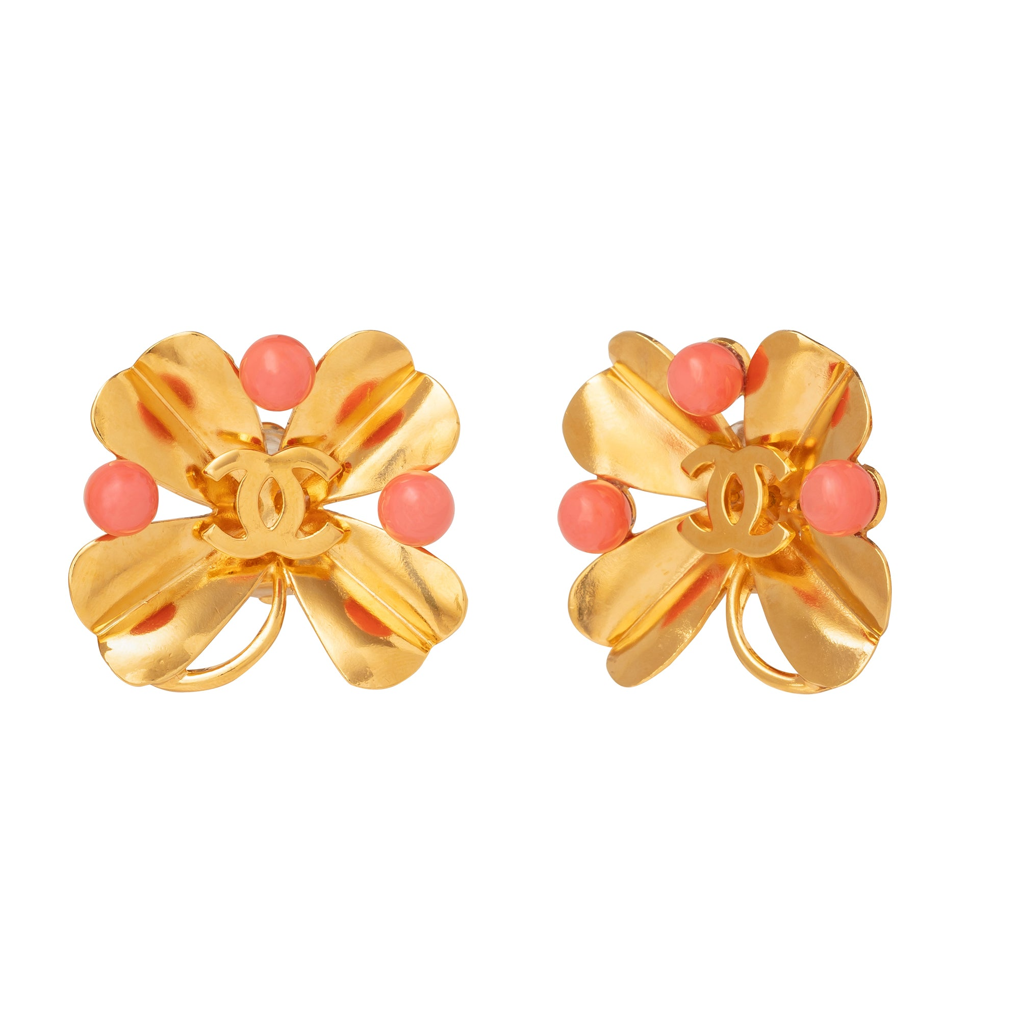 Chanel Large 4 Leaf Clover Coral Earrings - Antique & Vintage - Earrings | Broken English Jewelry