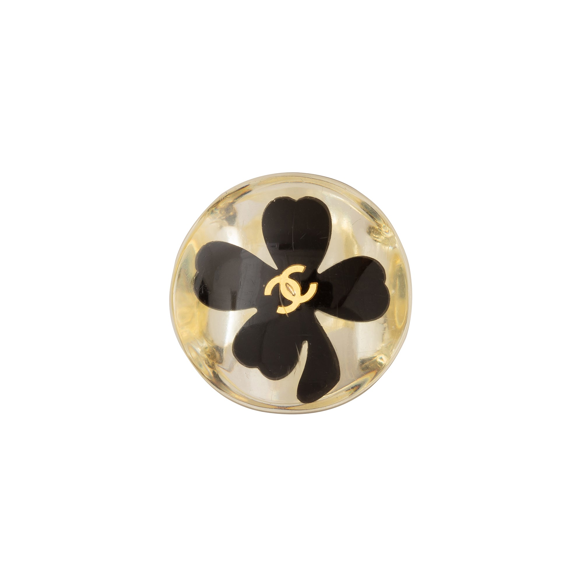 Chanel Clear Acrylic 4 Leaf Clover Logo Ring - Antique & Vintage - Rings | Broken English Jewelry