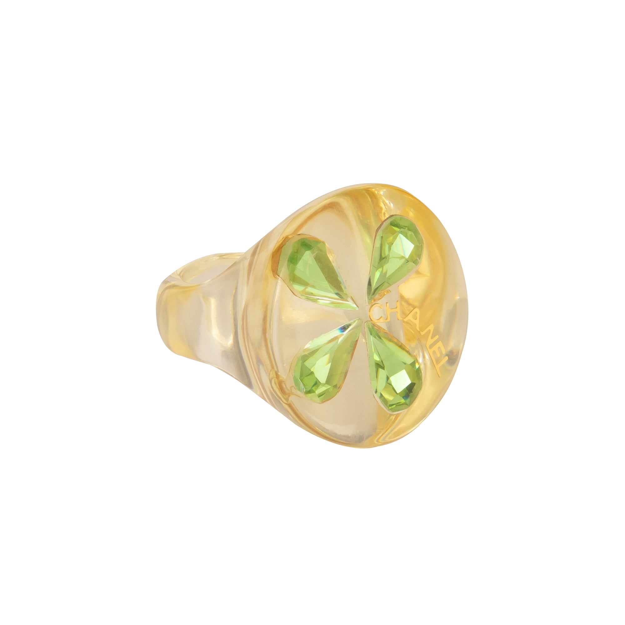 Chanel Clear Acrylic 4 Green Pear Ring - Antique & Vintage - Rings | Broken English Jewelry