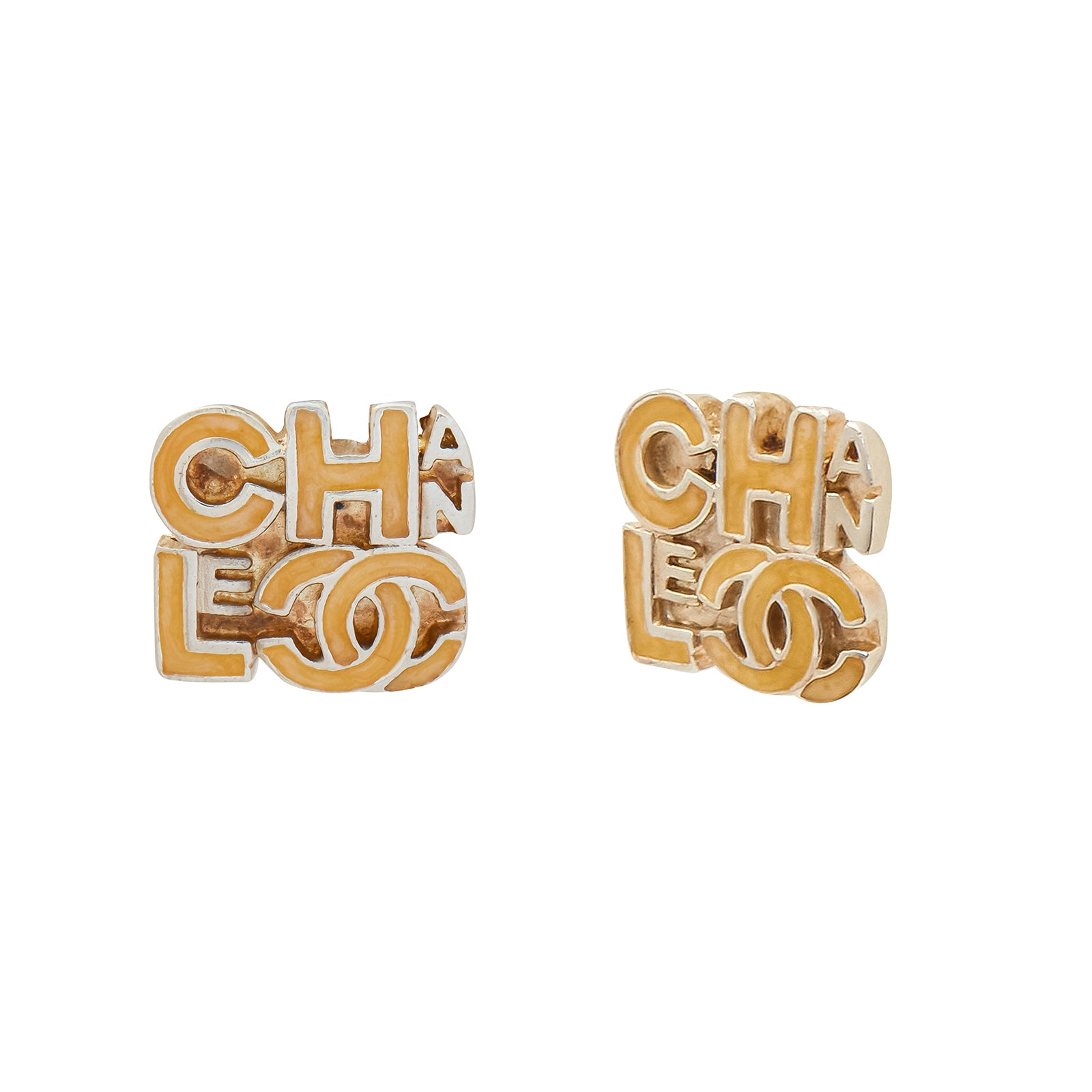 Antique & Vintage Jewelry Chanel Enamel Logo Earrings - Earrings - Broken English Jewelry