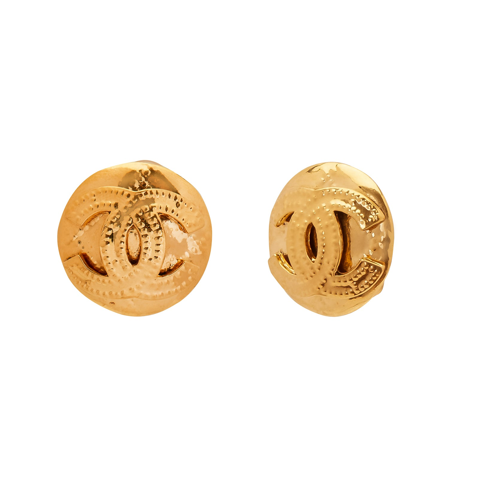 Antique & Vintage Jewelry Chanel Quilted Disk Earrings - Earrings - Broken English Jewelry