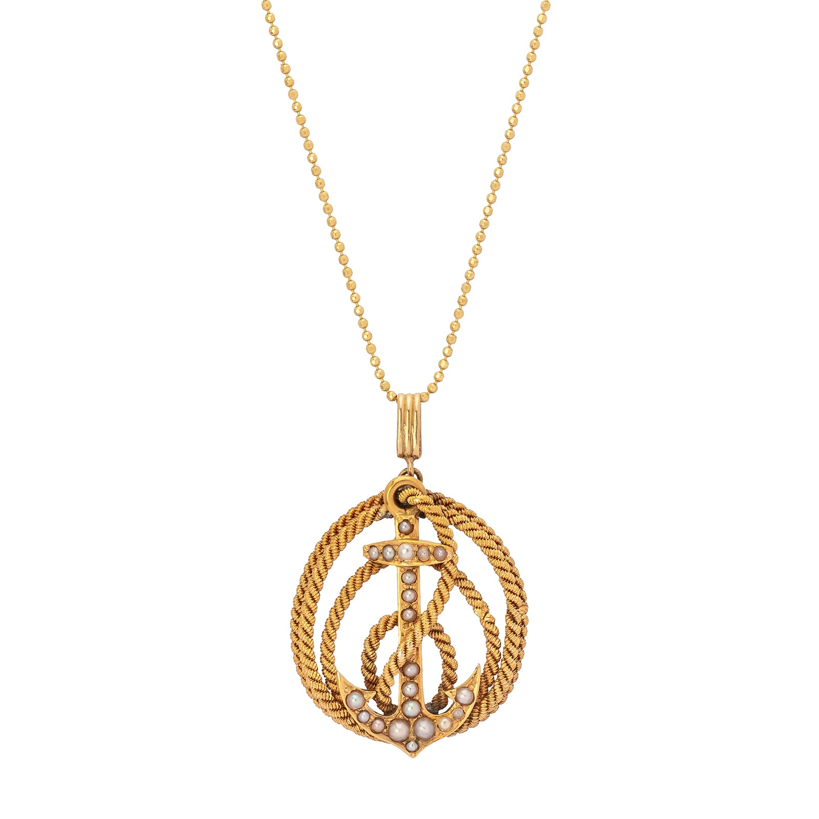 Antique & Vintage Jewelry Coiled Gold Rope Pendant - Charms & Pendants - Broken English Jewelry