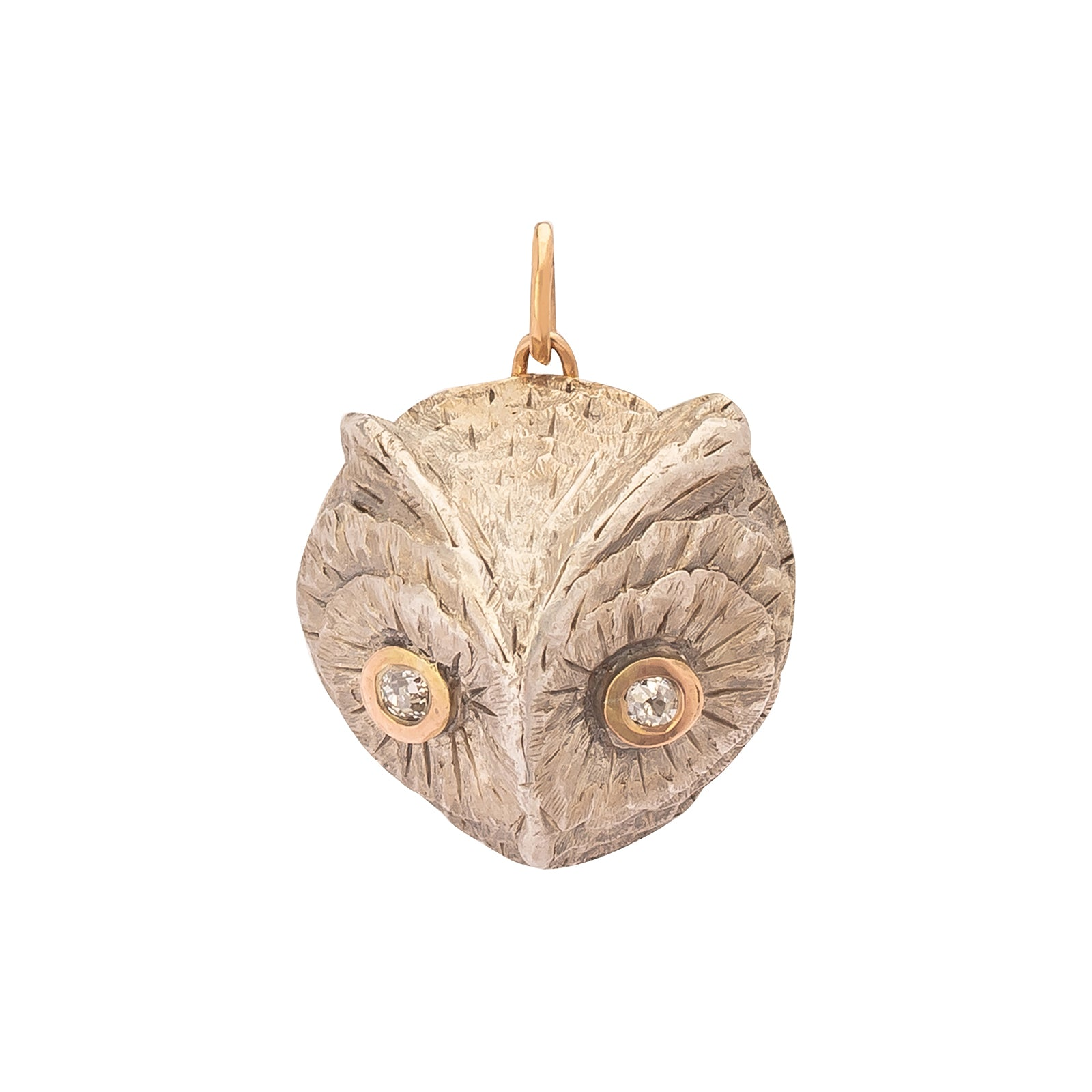 Antique & Vintage Jewelry Diamond Eyed Owl Pendant - Charms & Pendants - Broken English Jewelry