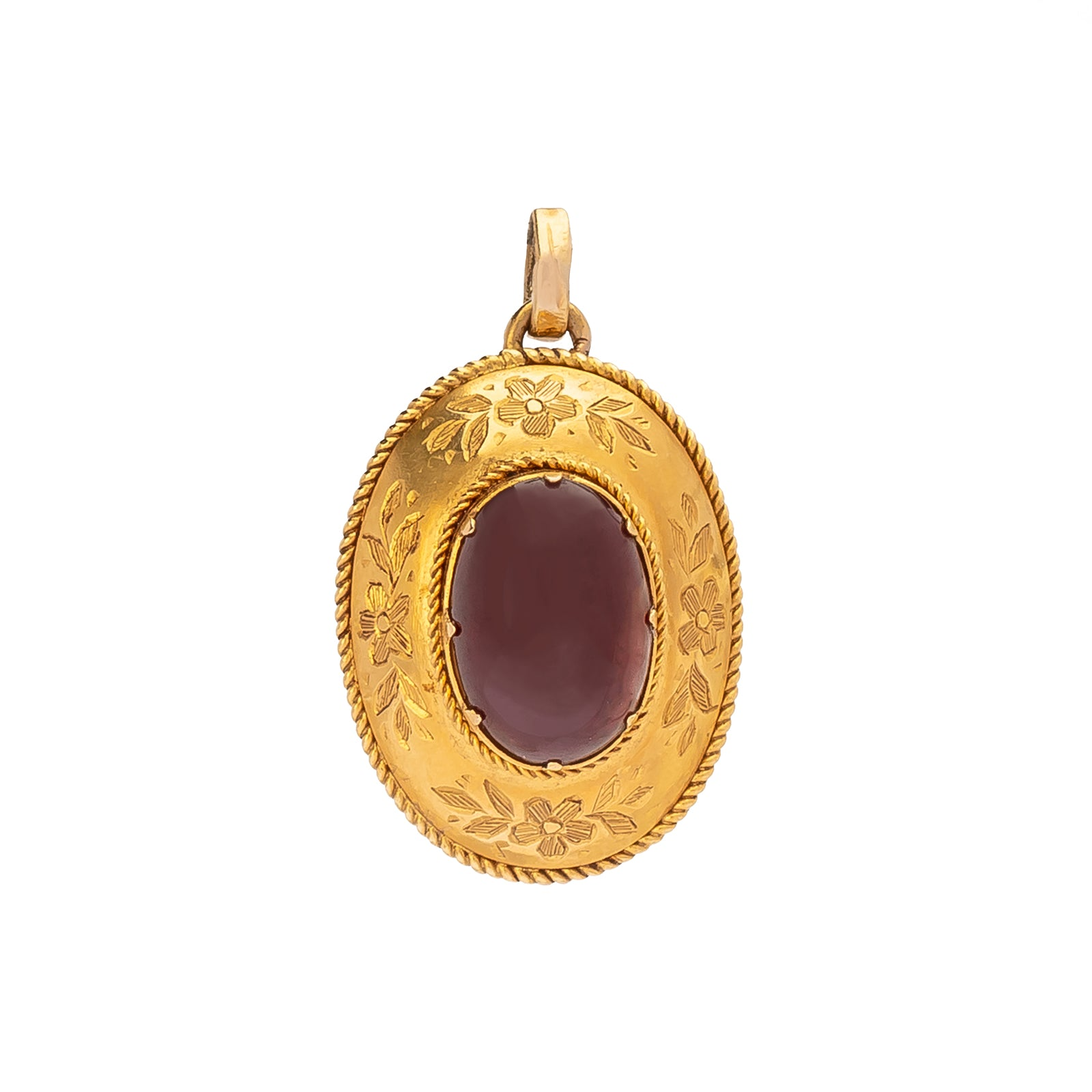Antique & Vintage Jewelry Oval Garnet Pendant - Charms & Pendants - Broken English Jewelry