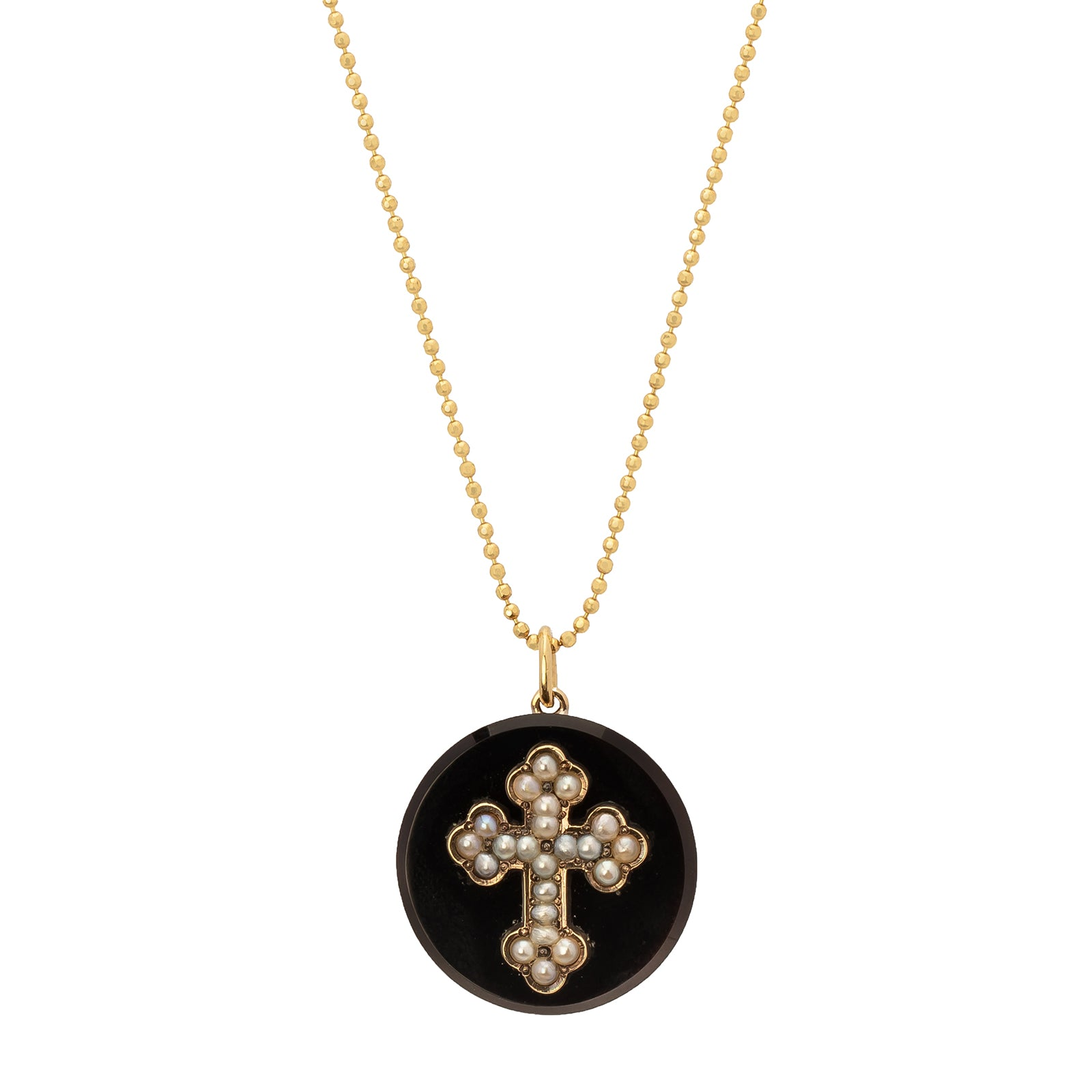 Antique & Vintage Jewelry Onyx Gold Cross Pendant - Charms & Pendants - Broken English Jewelry