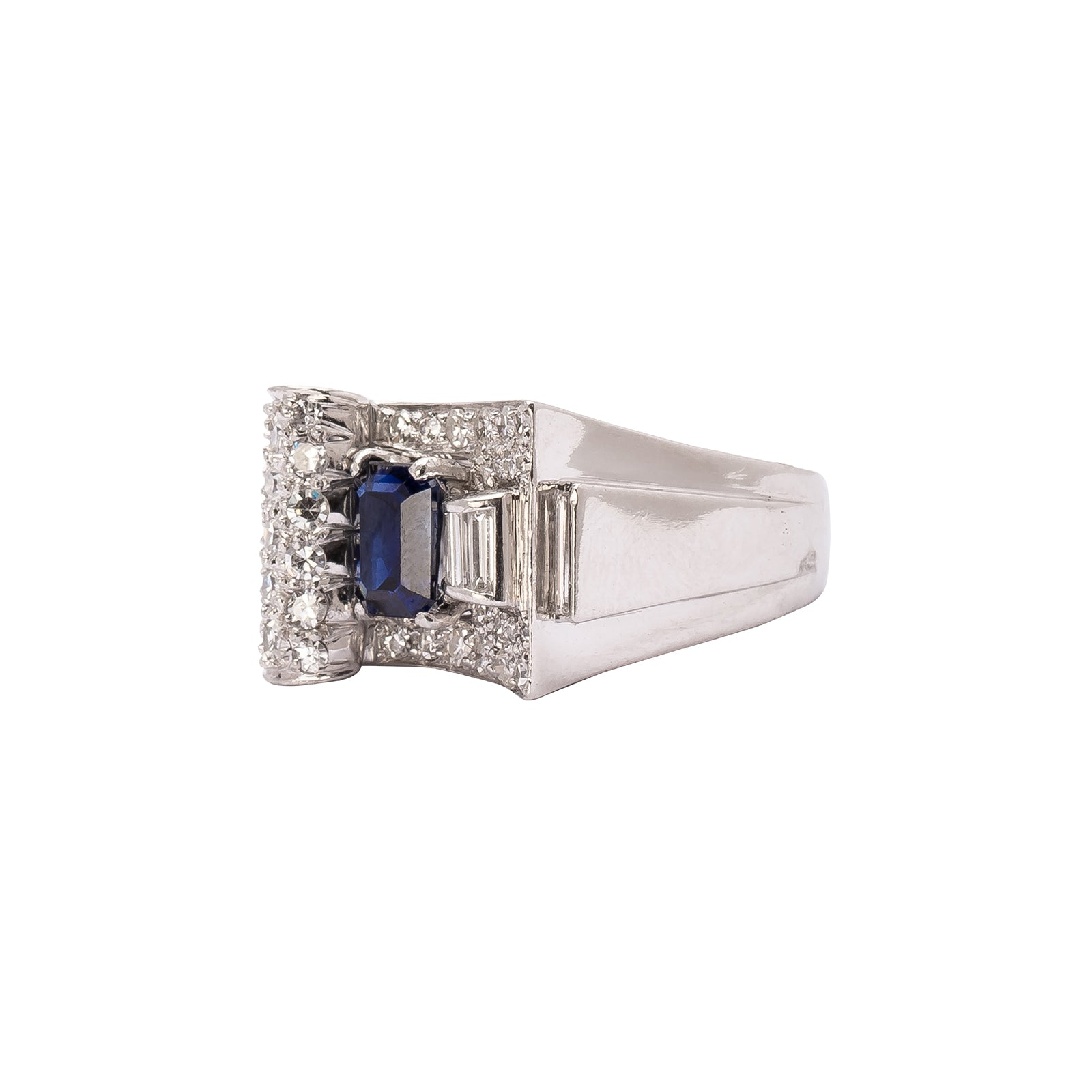 Antique & Vintage Jewelry Sapphire & Diamond Sculpted Ring - Rings - Broken English Jewelry