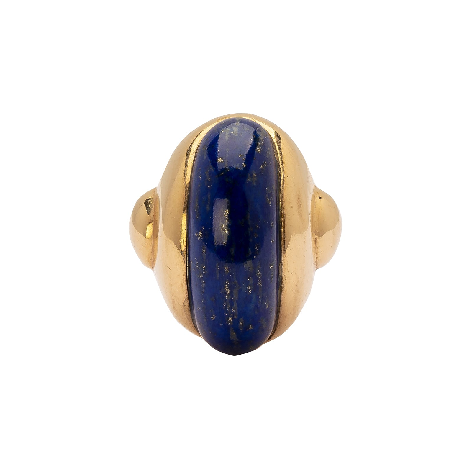 Antique & Vintage Jewelry Carved Lapis Dome Ring - Rings - Broken English Jewelry