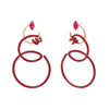 Bea Bongiasca Double Curl Vine Earrings - Red Enamel - Earrings - Broken English Jewelry