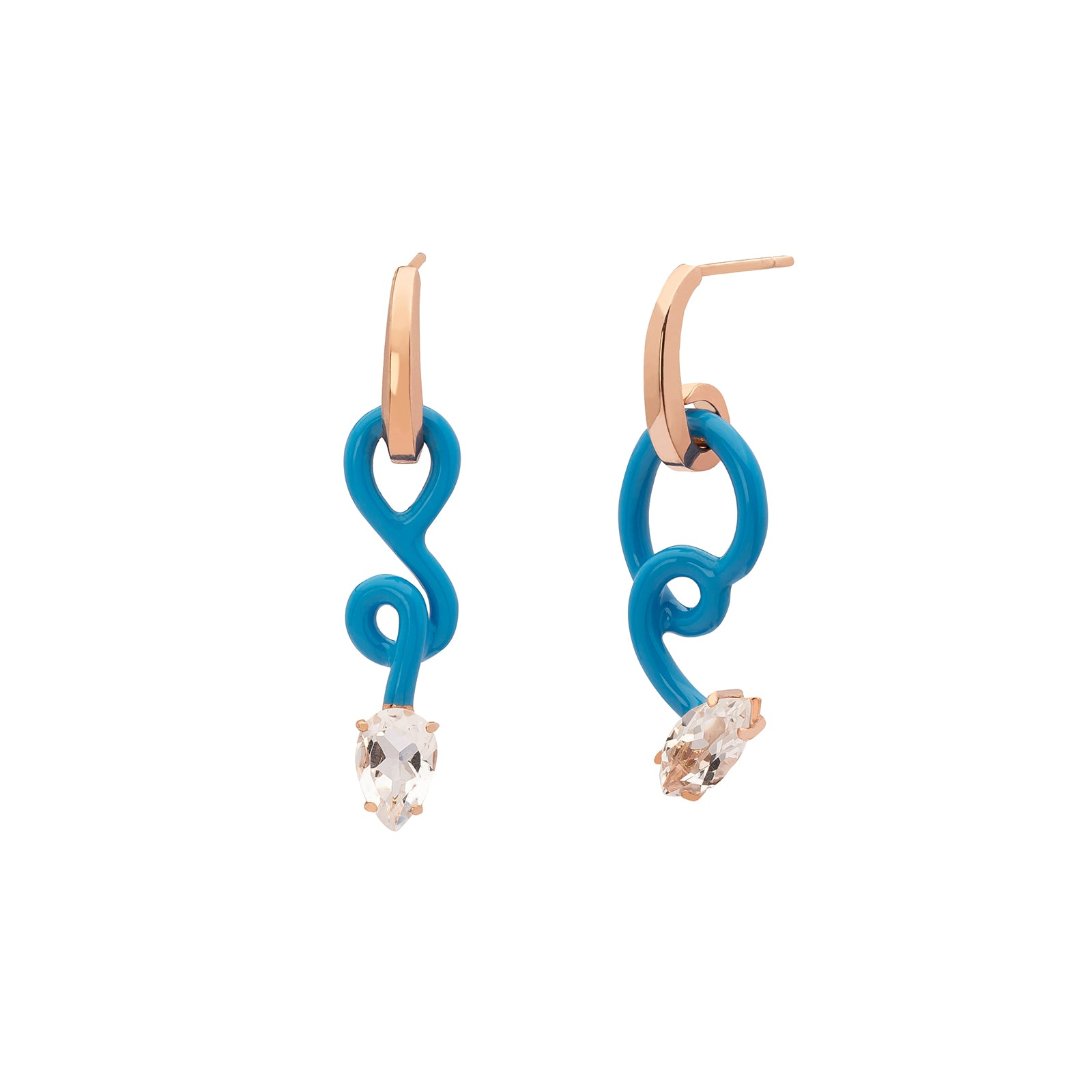 Bea Bongiasca Asymmetrical Vine Baby Hoop Earrings - Turquoise Enamel - Earrings - Broken English Jewelry