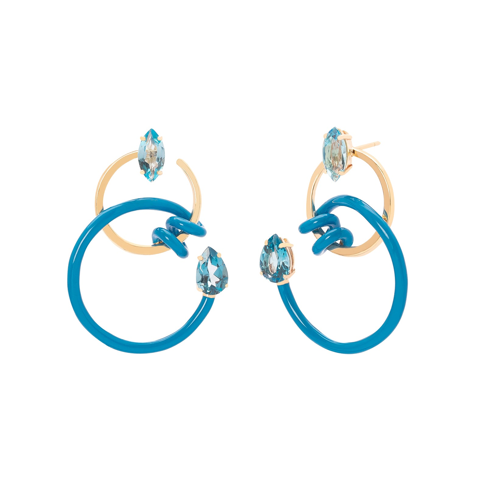 Bea Bongiasca Single Curl Vine Earrings - Turquoise Enamel - Earrings - Broken English Jewelry