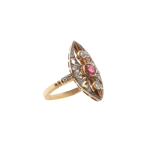 Vintage Gold Handmade Pointed Ruby and Diamond Ring for Broken English Jewelry