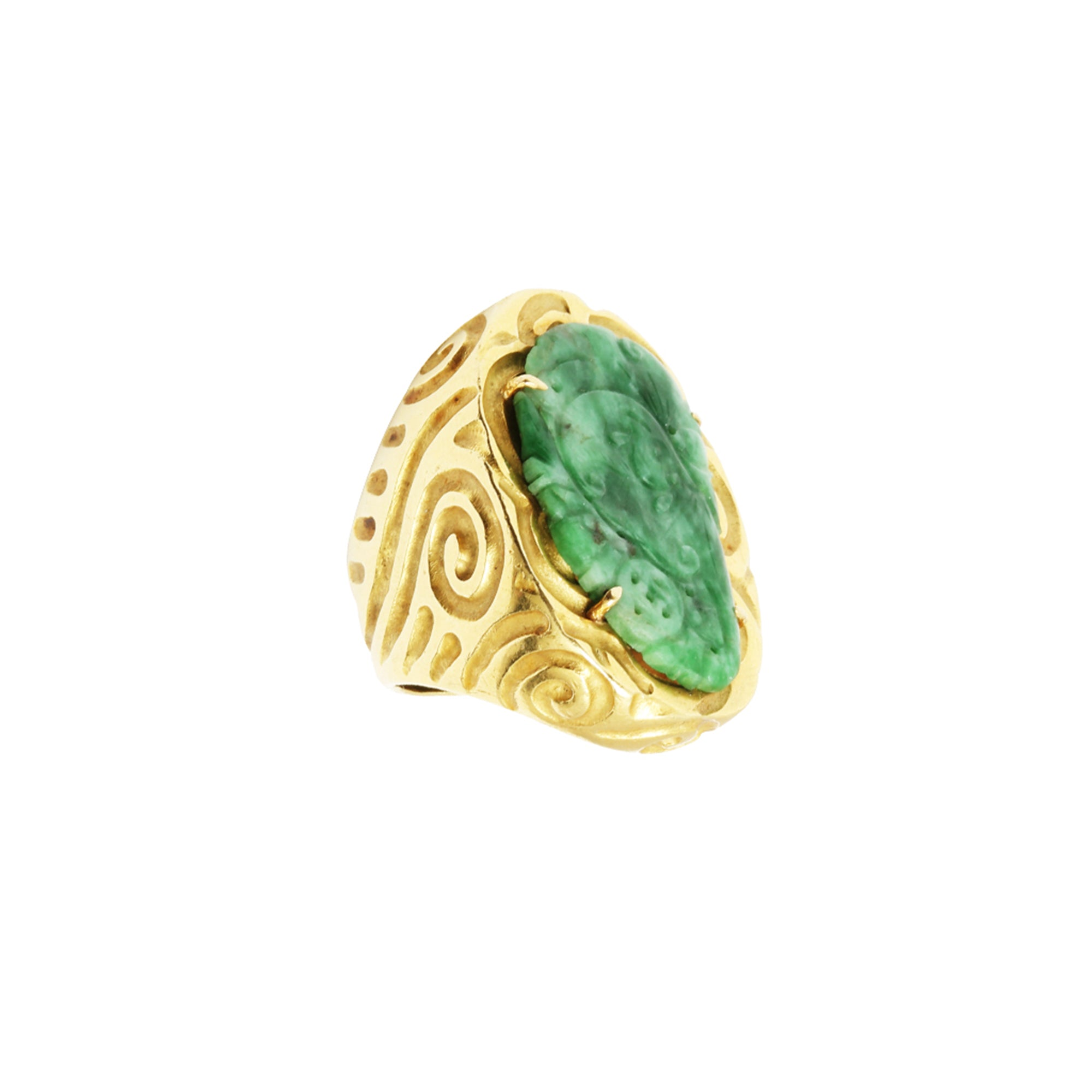 Vintage Gold & Jade New Zealand Tribal Ring for Broken English Jewelry